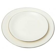Набор из 2 белых тарелок с серебряной каймой